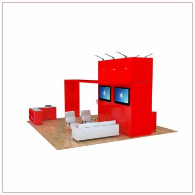 20x20 Trade Show Booth Rental Package 467 - Angle View - LV Exhibit Rentals in Las Vegas