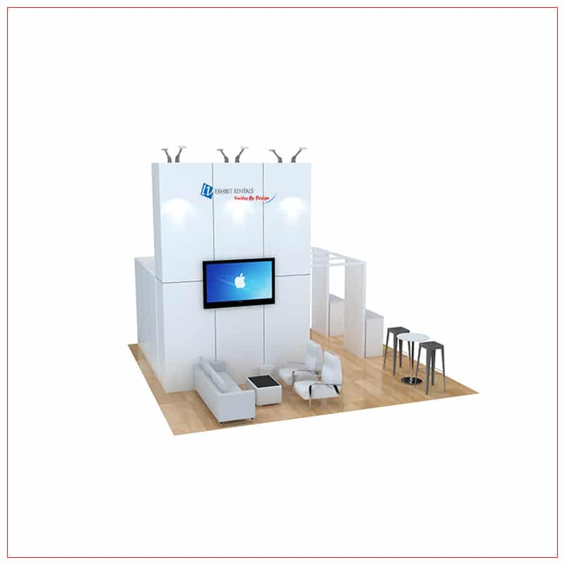 20x20 Trade Show Booth Rental Package 470 - Angle View 2 - LV Exhibit Rentals in Las Vegas