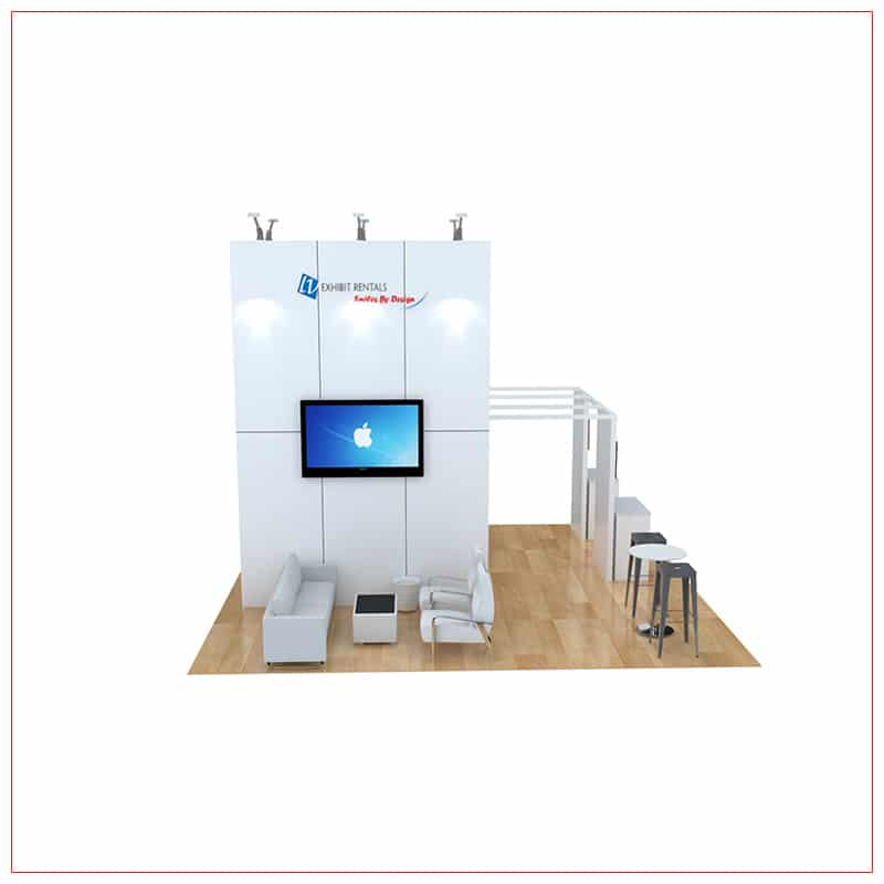 20x20 Trade Show Booth Rental Package 470 - Angle View - LV Exhibit Rentals in Las Vegas