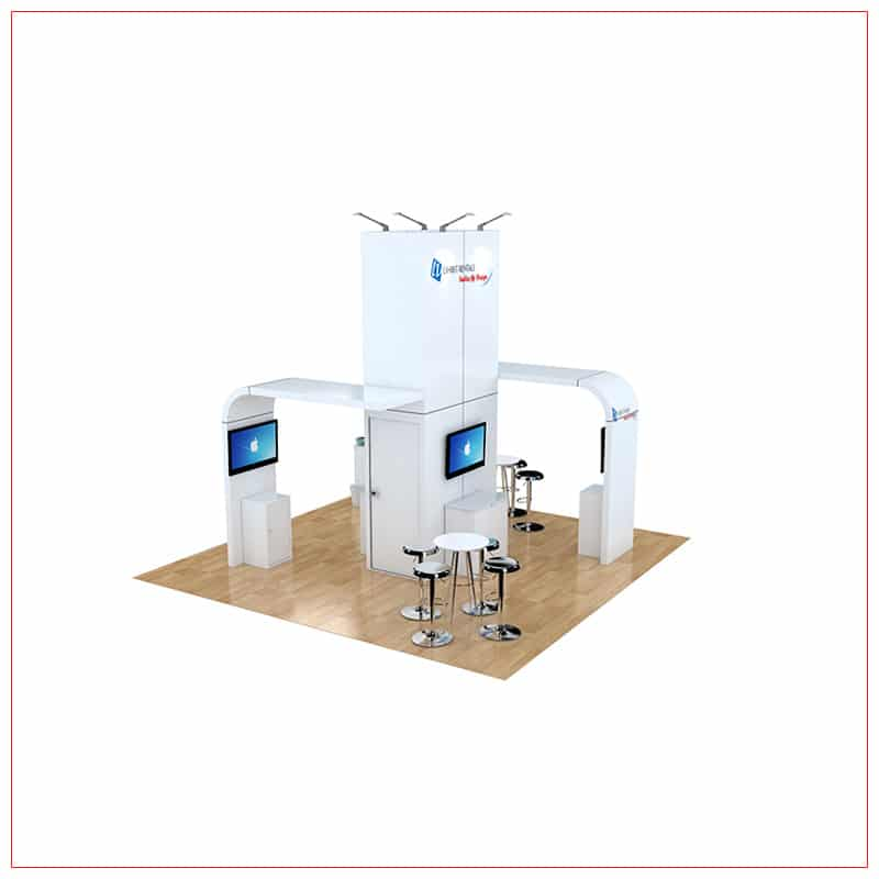 20x20 Trade Show Booth Rental Package 471 - Angle View - LV Exhibit Rentals in Las Vegas