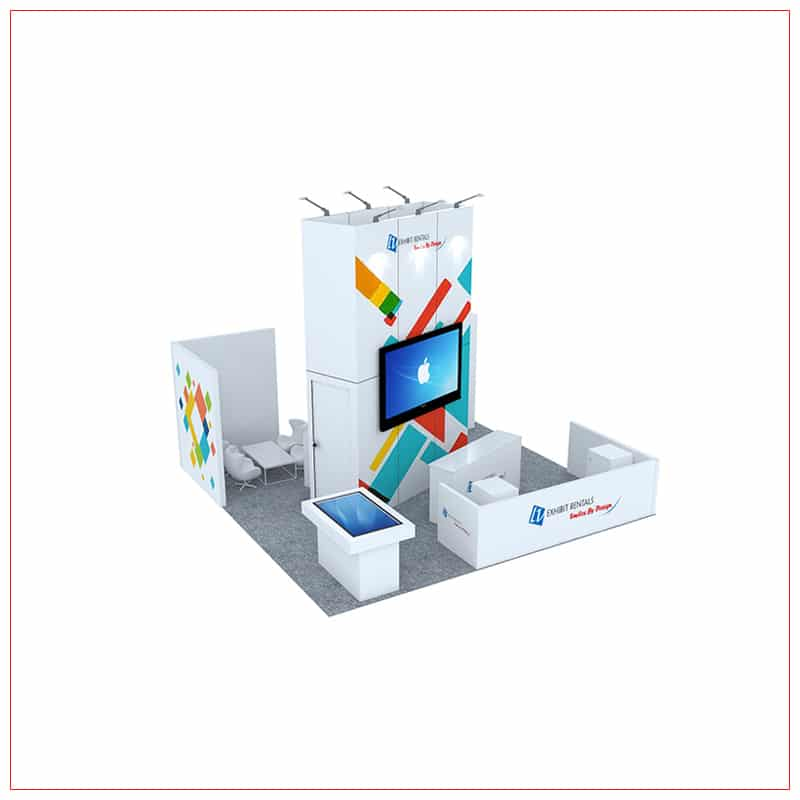 20x20 Trade Show Booth Rental Package 472 - Angle View 2 - LV Exhibit Rentals in Las Vegas