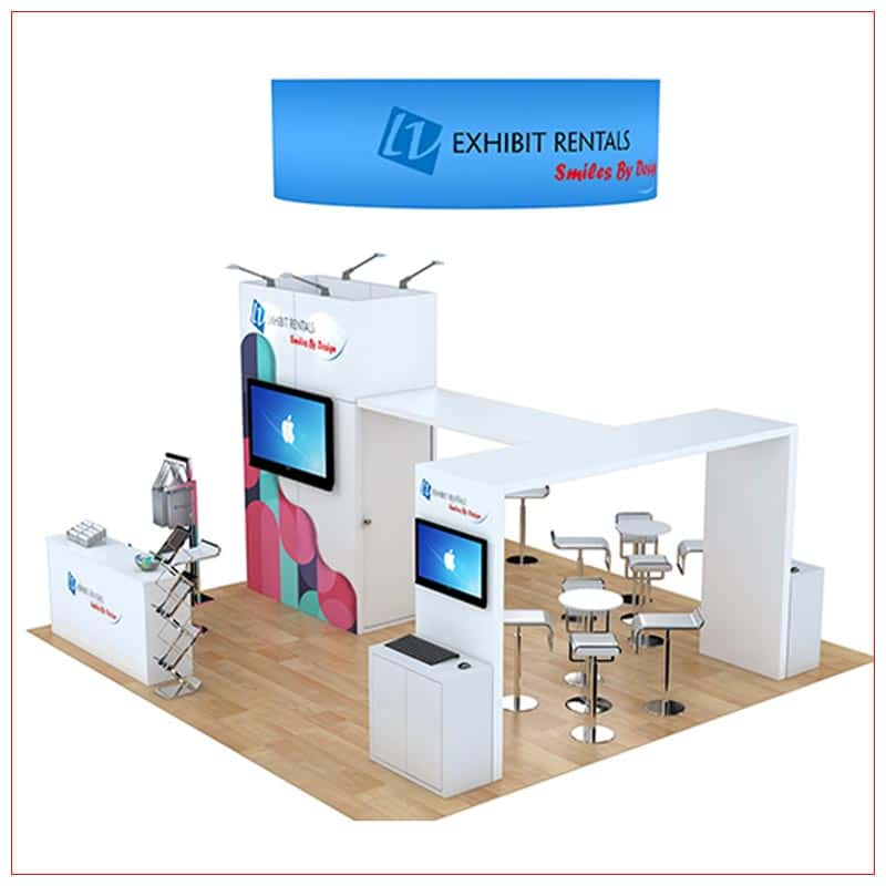 20x20 Trade Show Booth Rental Package 475 - Side View - LV Exhibit Rentals in Las Vegas