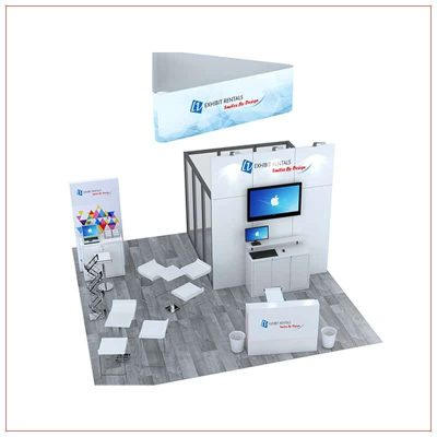 20x20 Trade Show Booth Rental Package 476 - Front View - LV Exhibit Rentals in Las Vegas