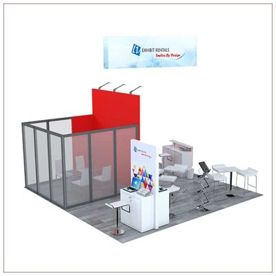 20x20 Trade Show Booth Rental Package 476 - Rear View - LV Exhibit Rentals in Las Vegas