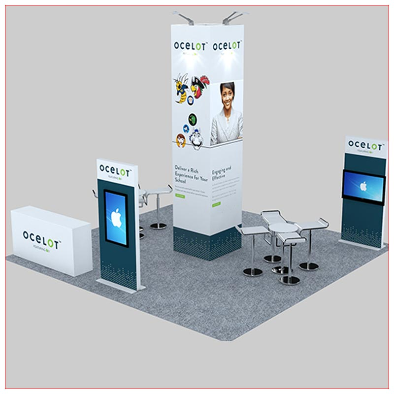 20x20 Trade Show Booth Rental Package 478 - Angle View - LV Exhibit Rentals in Las Vegas
