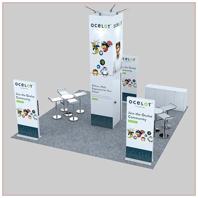 20x20 Trade Show Booth Rental Package 478 - Rear Angle View - LV Exhibit Rentals in Las Vegas