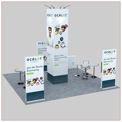 20x20 Trade Show Booth Rental Package 478 - Rear View - LV Exhibit Rentals in Las Vegas