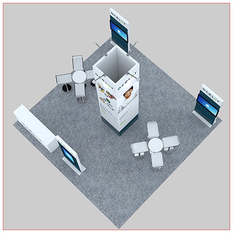 20x20 Trade Show Booth Rental Package 478 - Top-Down View - LV Exhibit Rentals in Las Vegas