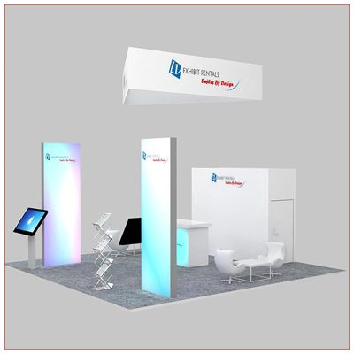 20x20 Trade Show Booth Rental Package 479 - Angle View - LV Exhibit Rentals in Las Vegas