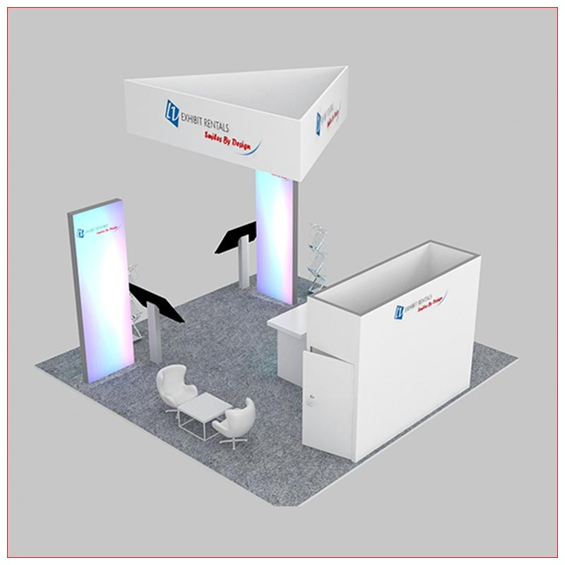 20x20 Trade Show Booth Rental Package 479 - Rear View - LV Exhibit Rentals in Las Vegas