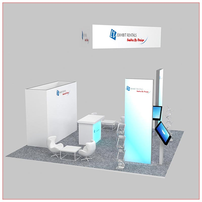 20x20 Trade Show Booth Rental Package 479 - Side View - LV Exhibit Rentals in Las Vegas