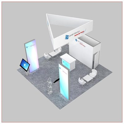 20x20 Trade Show Booth Rental Package 479 - Top-Down View - LV Exhibit Rentals in Las Vegas