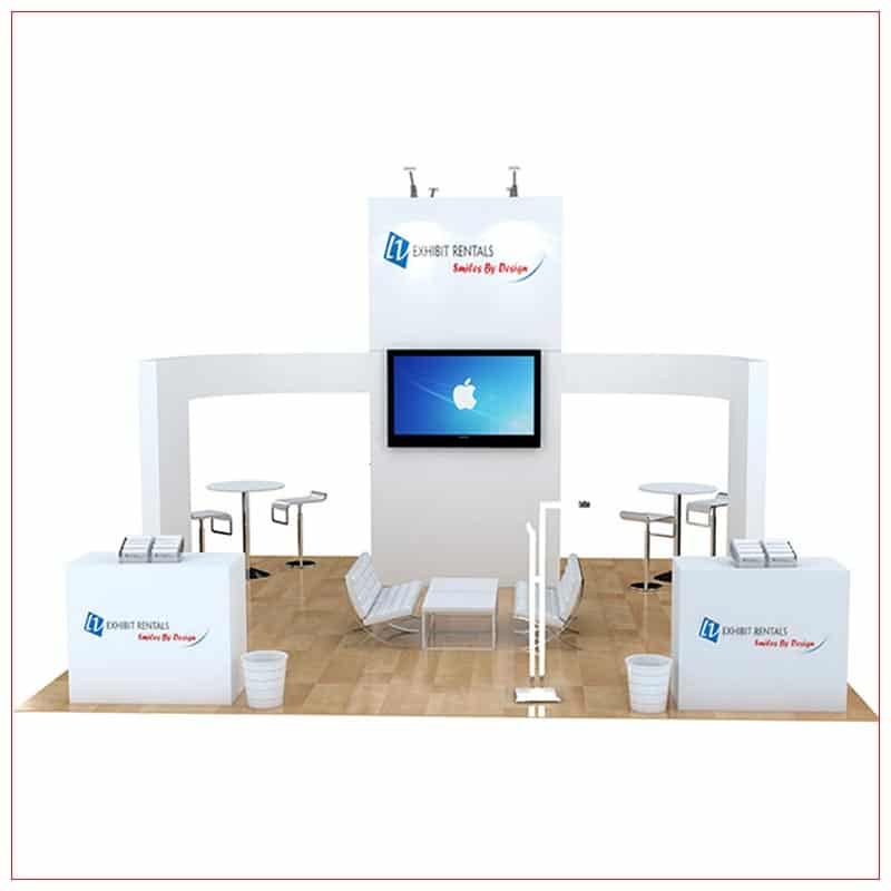 20x20 Trade Show Booth Rental Package 480 - Front View - LV Exhibit Rentals in Las Vegas