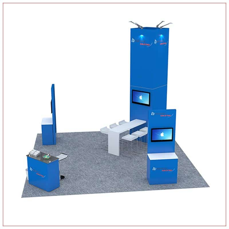 20x20 Trade Show Booth Rental Package 481 - Angle View - LV Exhibit Rentals in Las Vegas