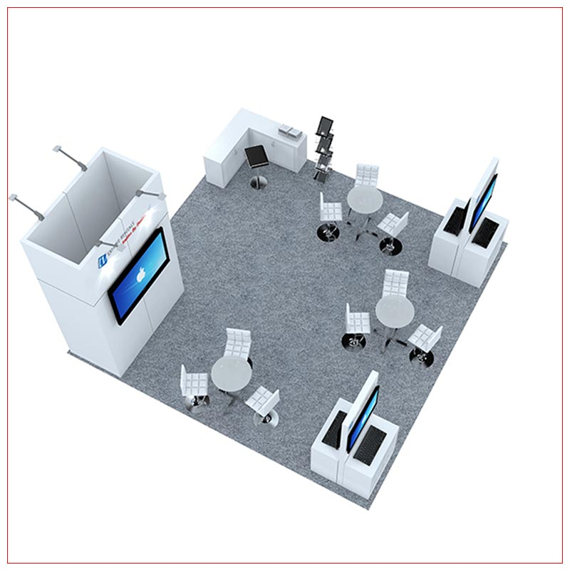 20x20 Trade Show Booth Rental Package 482 - Top-Down View - LV Exhibit Rentals in Las Vegas