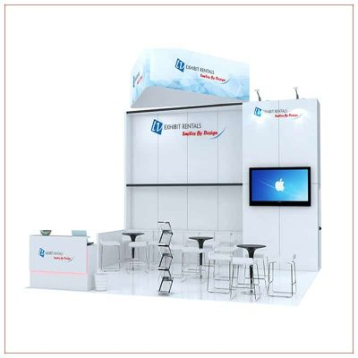 20x20 Trade Show Booth Rental Package 483 - front view - LV Exhibit Rentals in Las Vegas