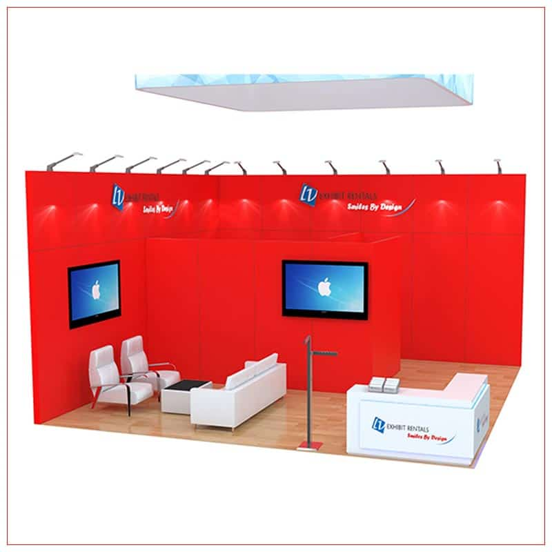 20x20 Trade Show Booth Rental Package 484 - Front View - LV Exhibit Rentals in Las Vegas