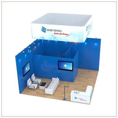 20x20 Trade Show Booth Rental Package 484 - front angle view - LV Exhibit Rentals in Las Vegas