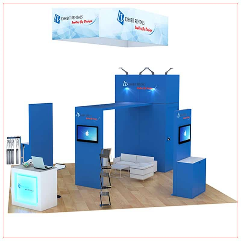 20x20 Trade Show Booth Rental Package 485 - Angle View - LV Exhibit Rentals in Las Vegas