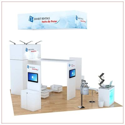 20x20 Trade Show Booth Rental Package 485 - Angle View2 - LV Exhibit Rentals in Las Vegas