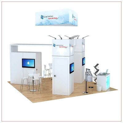 20x20 Trade Show Booth Rental Package 486 - Angle View - LV Exhibit Rentals in Las Vegas