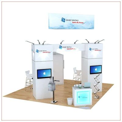 20x20 Trade Show Booth Rental Package 486 - Front View - LV Exhibit Rentals in Las Vegas