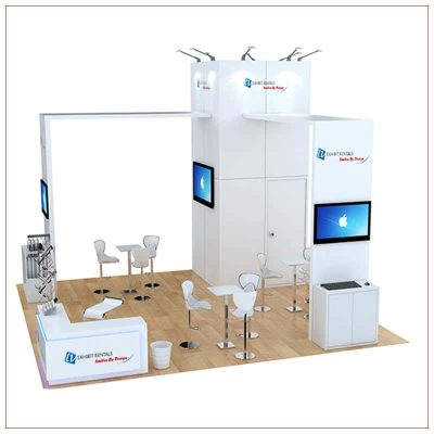 20x20 Trade Show Booth Rental Package 488 - Side View - LV Exhibit Rentals in Las Vegas
