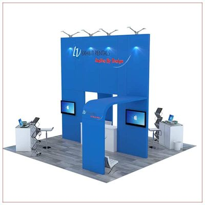 20x20 Trade Show Booth Rental Package 490 - Angle View - LV Exhibit Rentals in Las Vegas