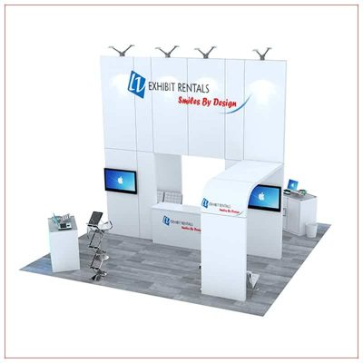 20x20 Trade Show Booth Rental Package 490 - Front View - LV Exhibit Rentals in Las Vegas