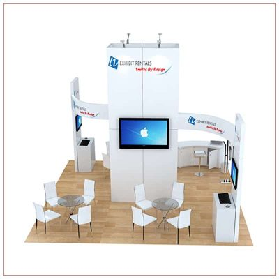 20x20 Trade Show Booth Rental Package 491 - Rear View - LV Exhibit Rentals in Las Vegas