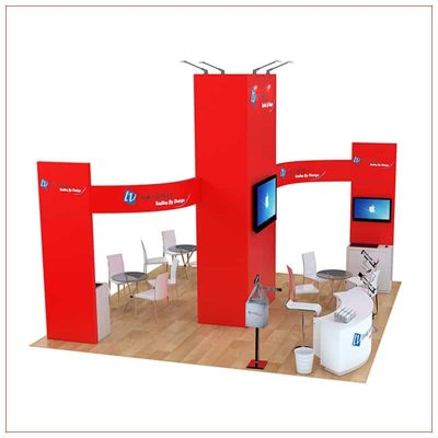 20x20 Trade Show Booth Rental Package 491 - Side View - LV Exhibit Rentals in Las Vegas