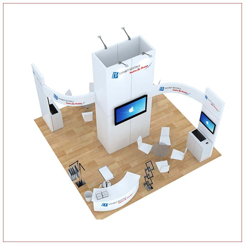 20x20 Trade Show Booth Rental Package 491 - Top-Down View - LV Exhibit Rentals in Las Vegas