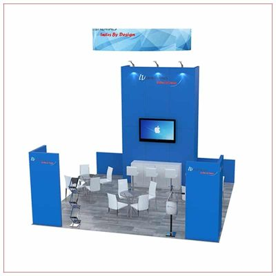 20x20 Trade Show Booth Rental Package 492 - Angle View - LV Exhibit Rentals in Las Vegas