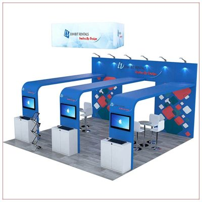 20x20 Trade Show Booth Rental Package 493 - Angle View - LV Exhibit Rentals in Las Vegas