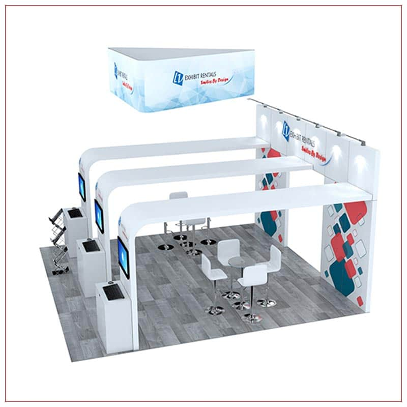 20x20 Trade Show Booth Rental Package 493 - Side View - LV Exhibit Rentals in Las Vegas