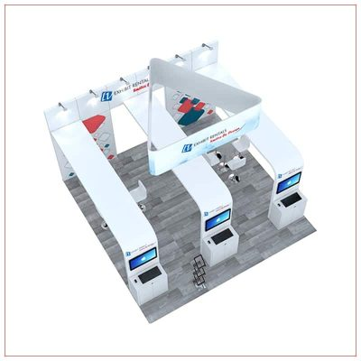 20x20 Trade Show Booth Rental Package 493 - Top-Down View - LV Exhibit Rentals in Las Vegas