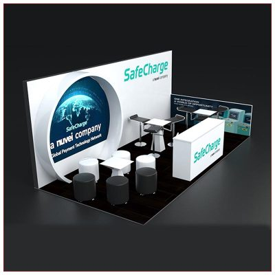 10x20 Trade Show Booth Rental Package 254 - Side View - LV Exhibit Rentals in Las Vegas