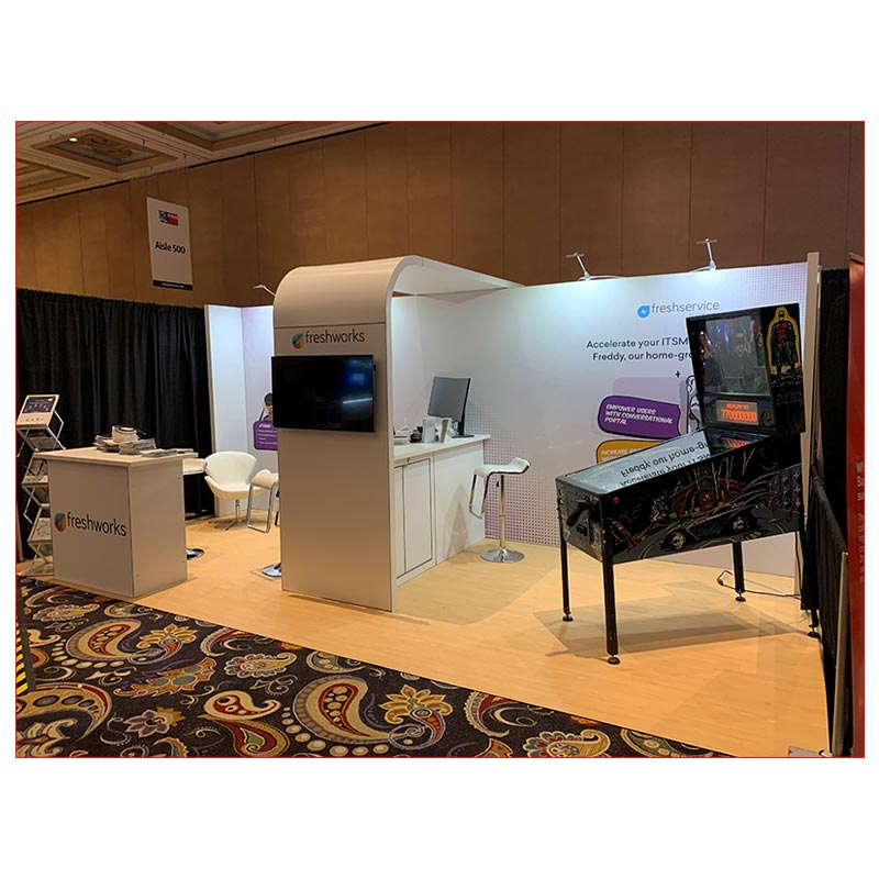 10x20 Trade Show Booth Rental Package 255 - Angle View - LV Exhibit Rentals in Las Vegas