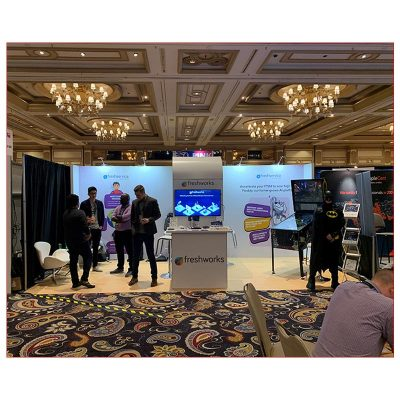 10x20 Trade Show Booth Rental Package 255 - Front View - LV Exhibit Rentals in Las Vegas
