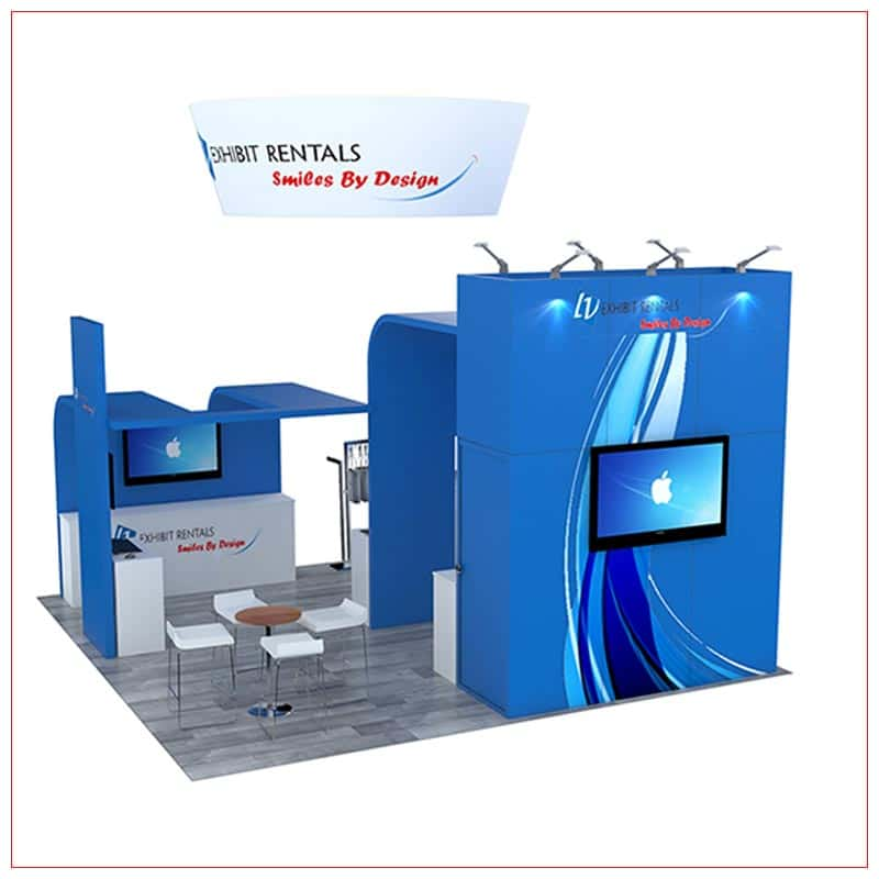 20x20 Trade Show Booth Rental Package 494 - Rear View - LV Exhibit Rentals in Las Vegas