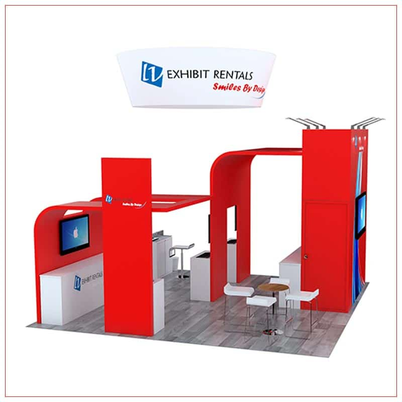 20x20 Trade Show Booth Rental Package 494 - Side View - LV Exhibit Rentals in Las Vegas