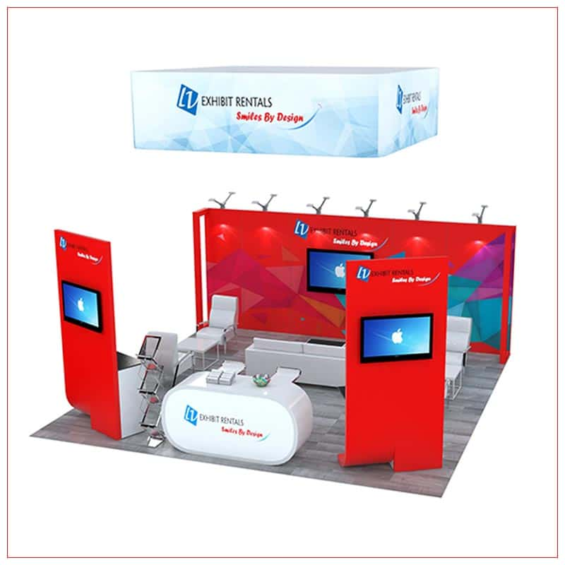 20x20 Trade Show Booth Rental Package 496 - Angle View - LV Exhibit Rentals in Las Vegas