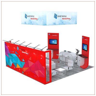 20x20 Trade Show Booth Rental Package 496 - Rear View - LV Exhibit Rentals in Las Vegas