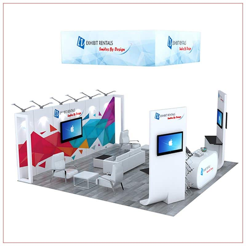 20x20 Trade Show Booth Rental Package 496 - Side View - LV Exhibit Rentals in Las Vegas