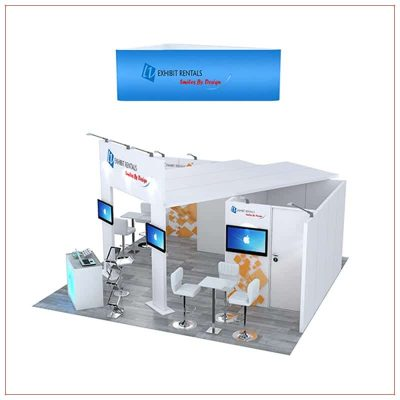 20x20 Trade Show Booth Rental Package 497 - Side View - LV Exhibit Rentals in Las Vegas