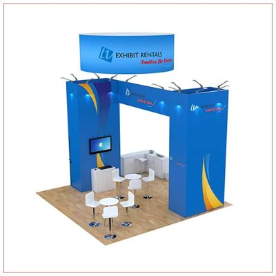 20x20 Trade Show Booth Rental Package 498 - Angle View - LV Exhibit Rentals in Las Vegas