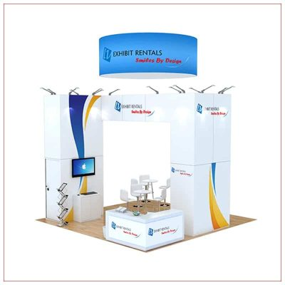 20x20 Trade Show Booth Rental Package 498 - Front View - LV Exhibit Rentals in Las Vegas