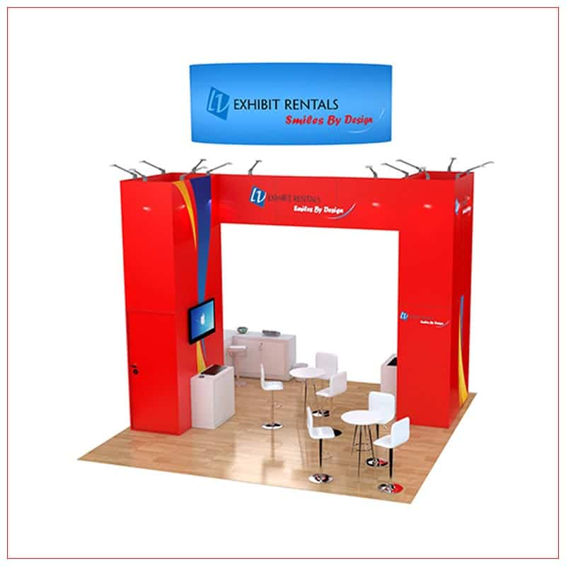20x20 Trade Show Booth Rental Package 498 - Rear View - LV Exhibit Rentals in Las Vegas