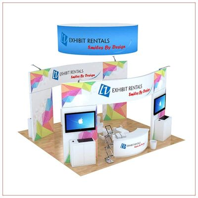 20x20 Trade Show Booth Rental Package 499 - Angle View - LV Exhibit Rentals in Las Vegas