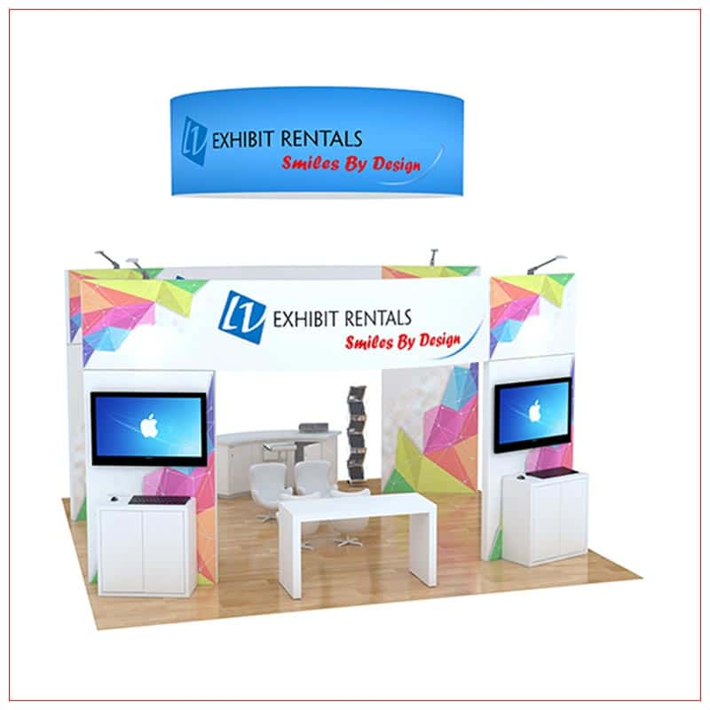 20x20 Trade Show Booth Rental Package 499 - Rear View - LV Exhibit Rentals in Las Vegas